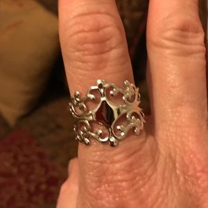 Silvertone Filigree Ring, OSFA.